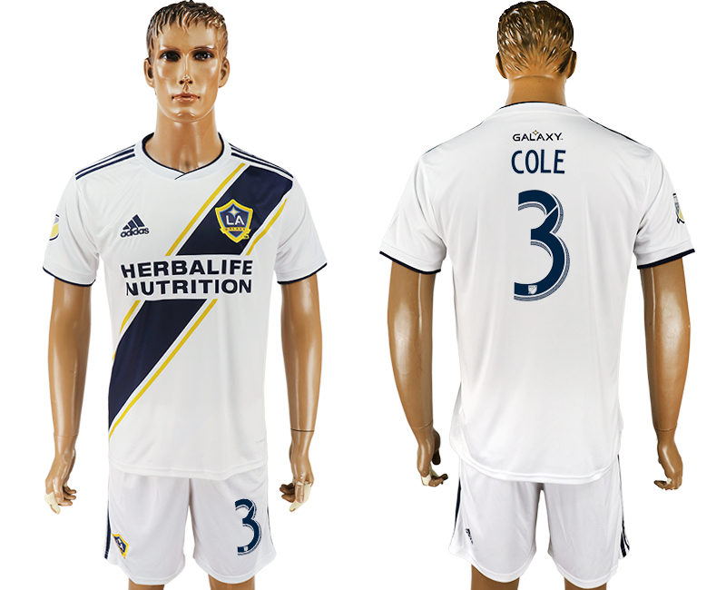 Men 2018-2019 club Los Angeles Galaxy home 3 white soccer jersey