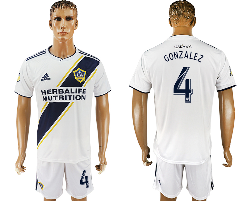 Men 2018-2019 club Los Angeles Galaxy home 4 white soccer jersey