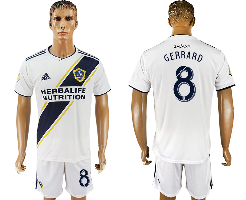 Men 2018-2019 club Los Angeles Galaxy home 8 white soccer jersey1