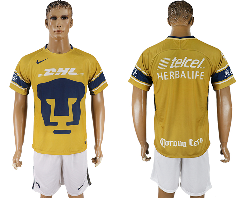 Men 2018-2019 club Pumas UNAM away yellow soccer jersey