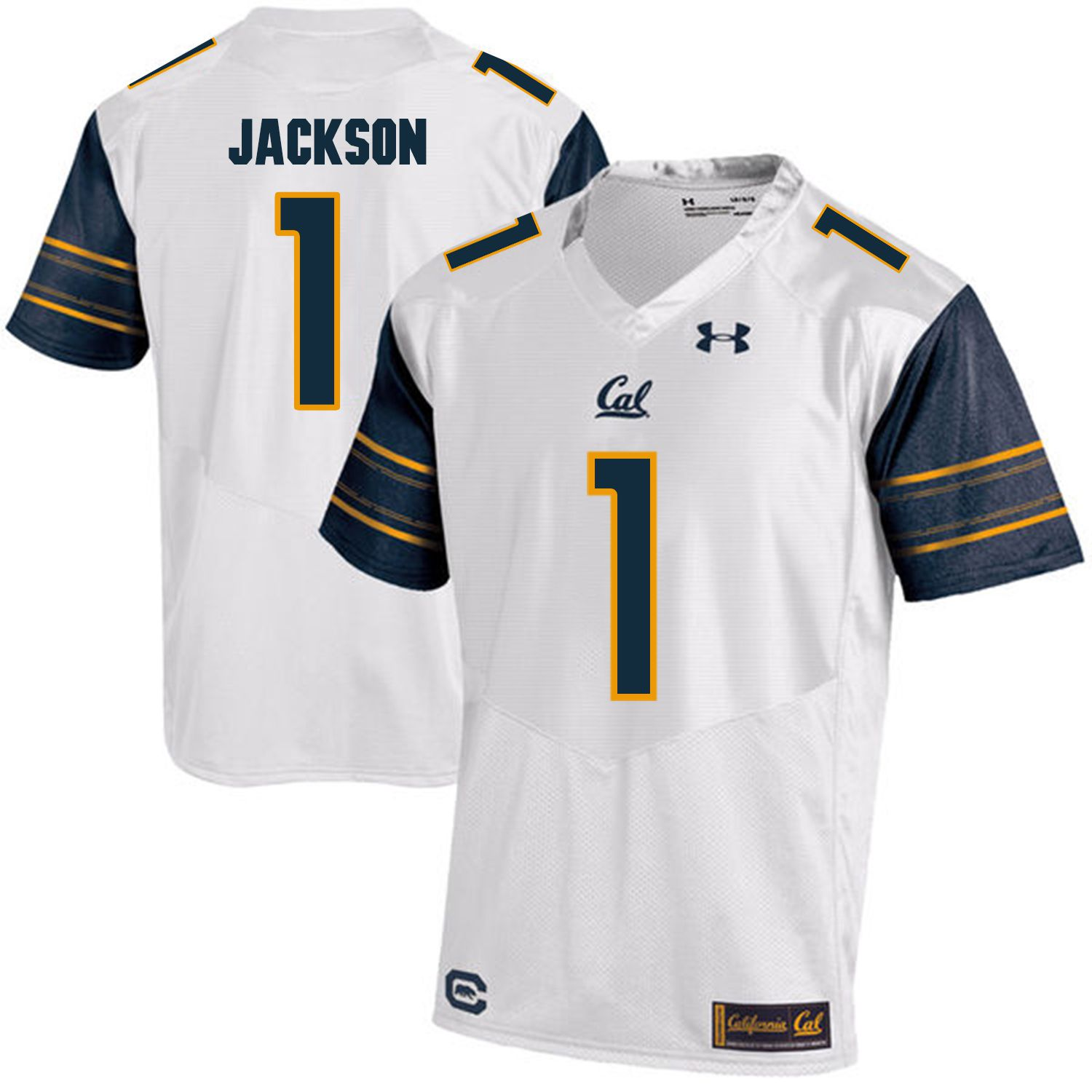 Men California Golden Bears 1 DeSean Jackson White Customized NCAA Jerseys