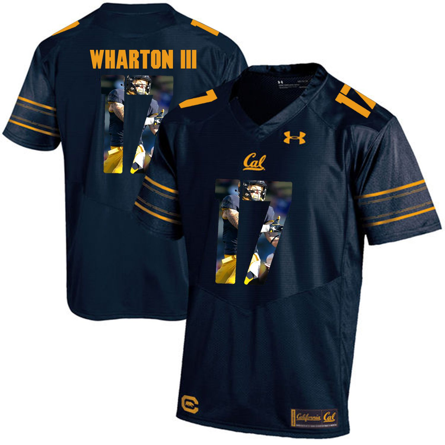 Men California Golden Bears 17 Vic Wharton III Dark blue Customized NCAA Jerseys