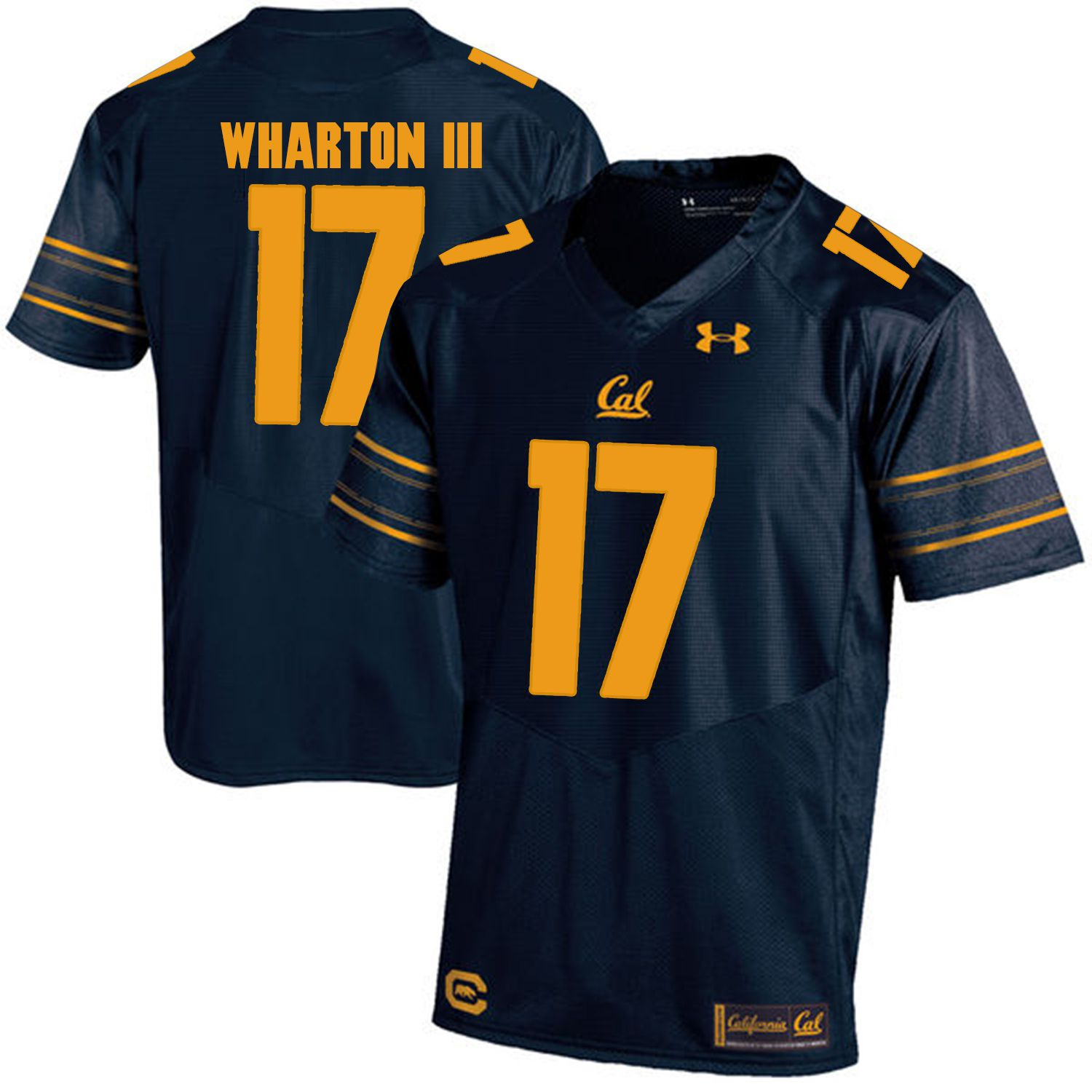 Men California Golden Bears 17 Vic Wharton III Dark blue Customized NCAA Jerseys1
