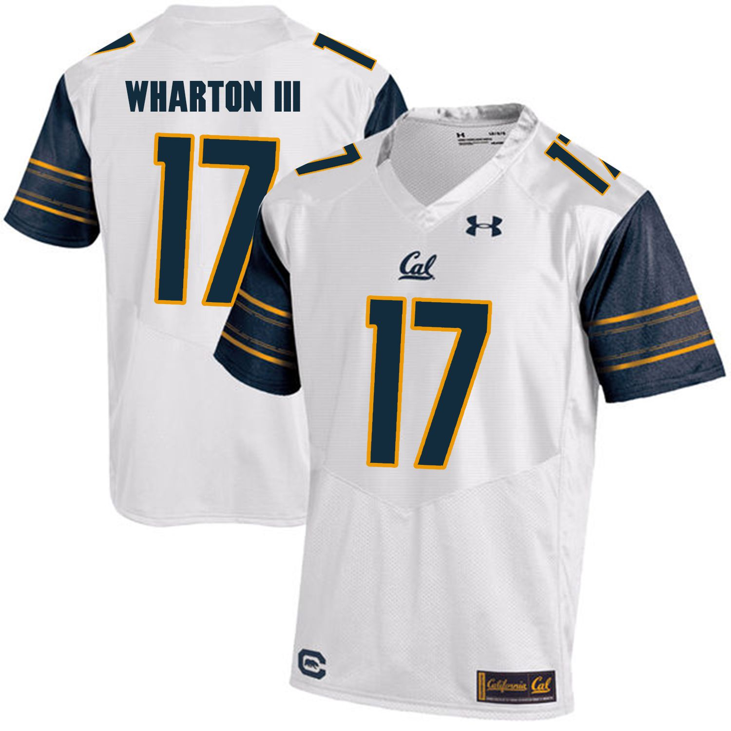 Men California Golden Bears 17 Vic Wharton III White Customized NCAA Jerseys1