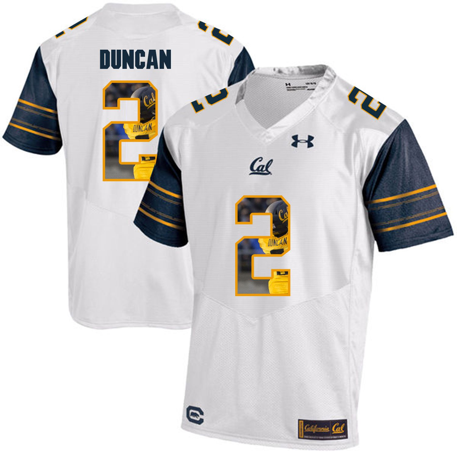 Men California Golden Bears 2 Jordan Duncan White Customized NCAA Jerseys