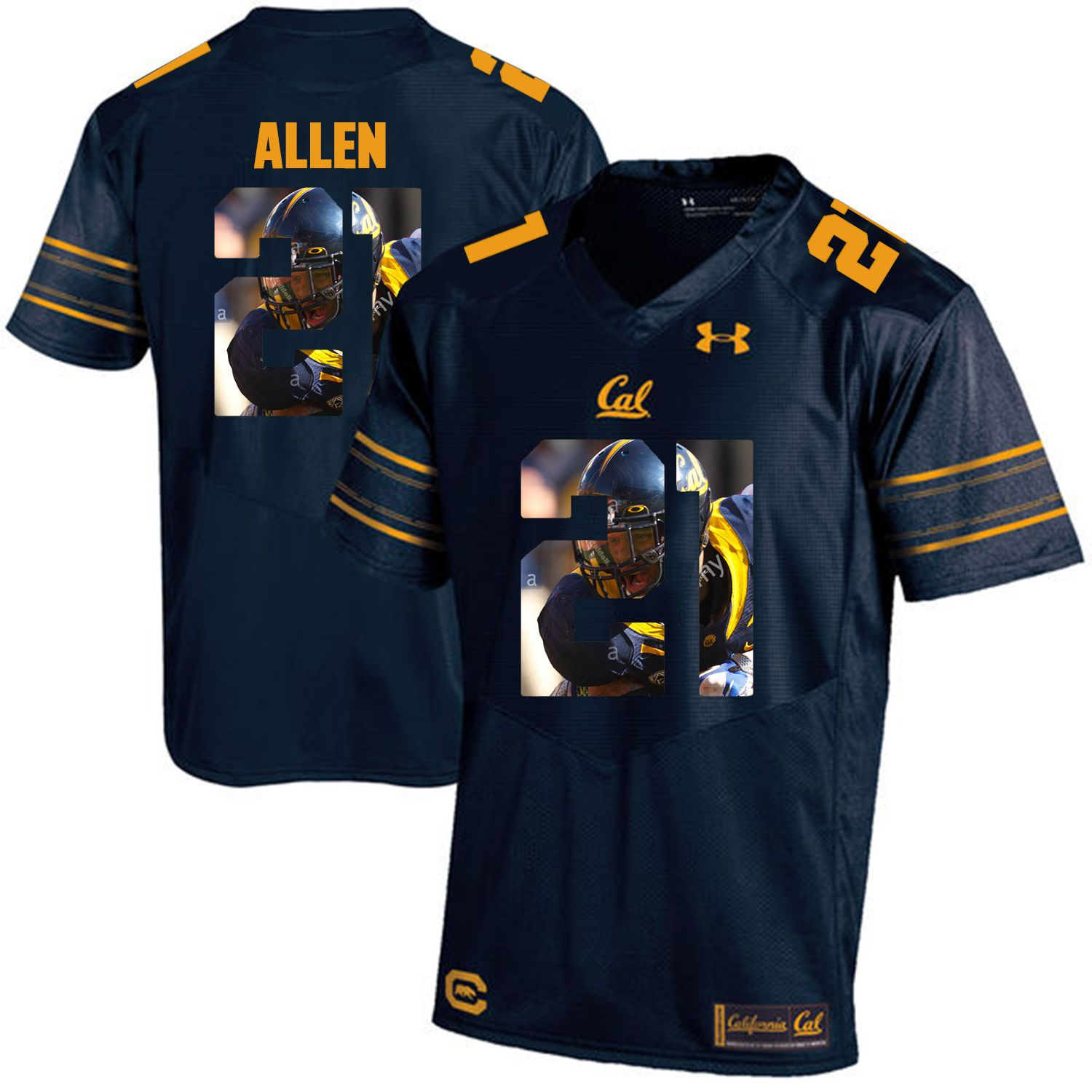 Men California Golden Bears 21 Keenan Allen Dark blue Customized NCAA Jerseys