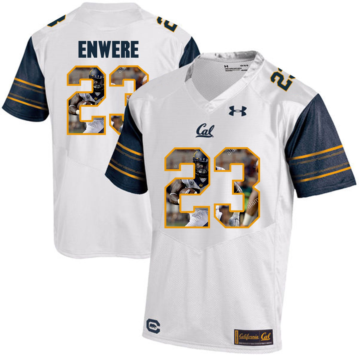 Men California Golden Bears 23 Vic Enwere White Customized NCAA Jerseys