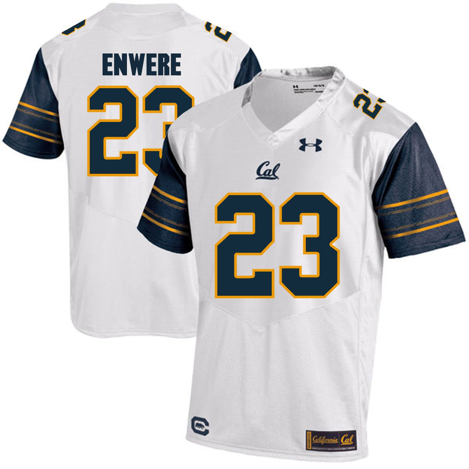 Men California Golden Bears 23 Vic Enwere White Customized NCAA Jerseys1
