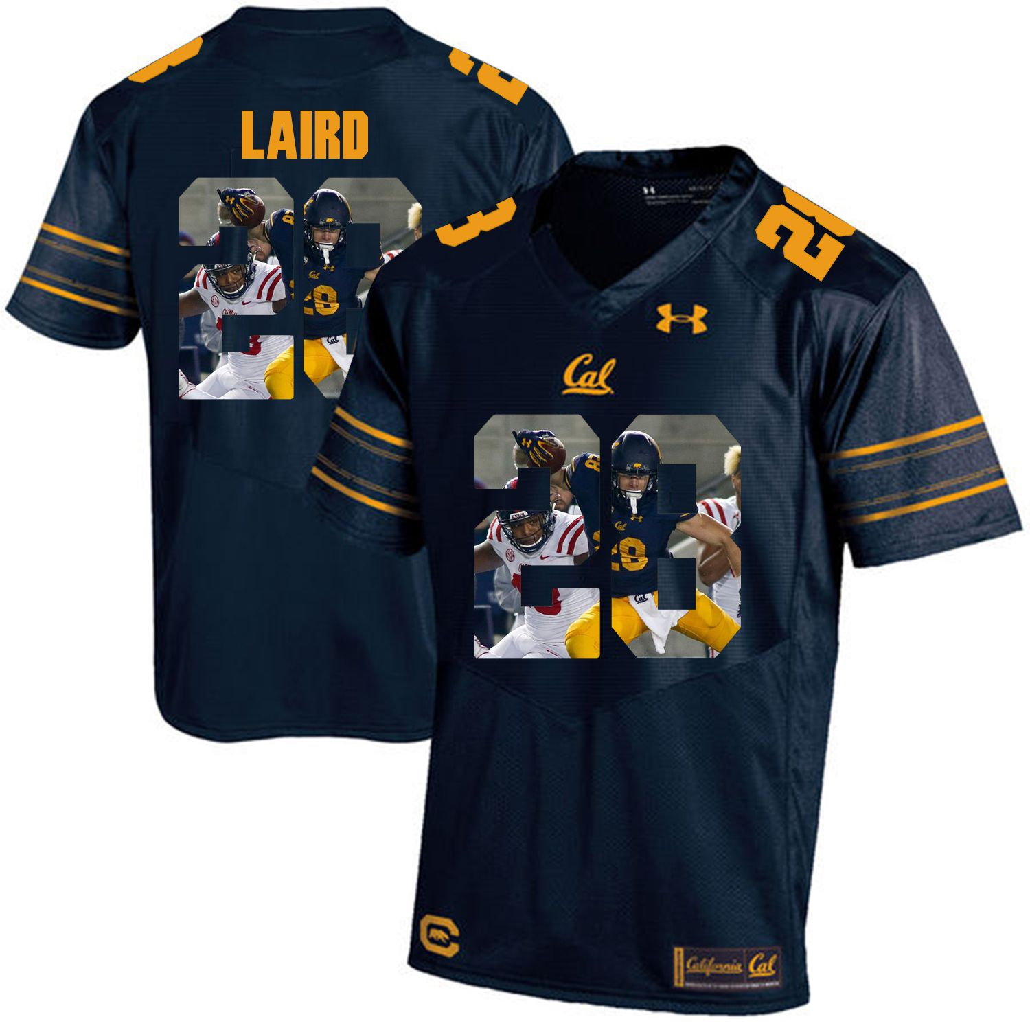 Men California Golden Bears 28 Patrick Laird Dark blue Customized NCAA Jerseys1