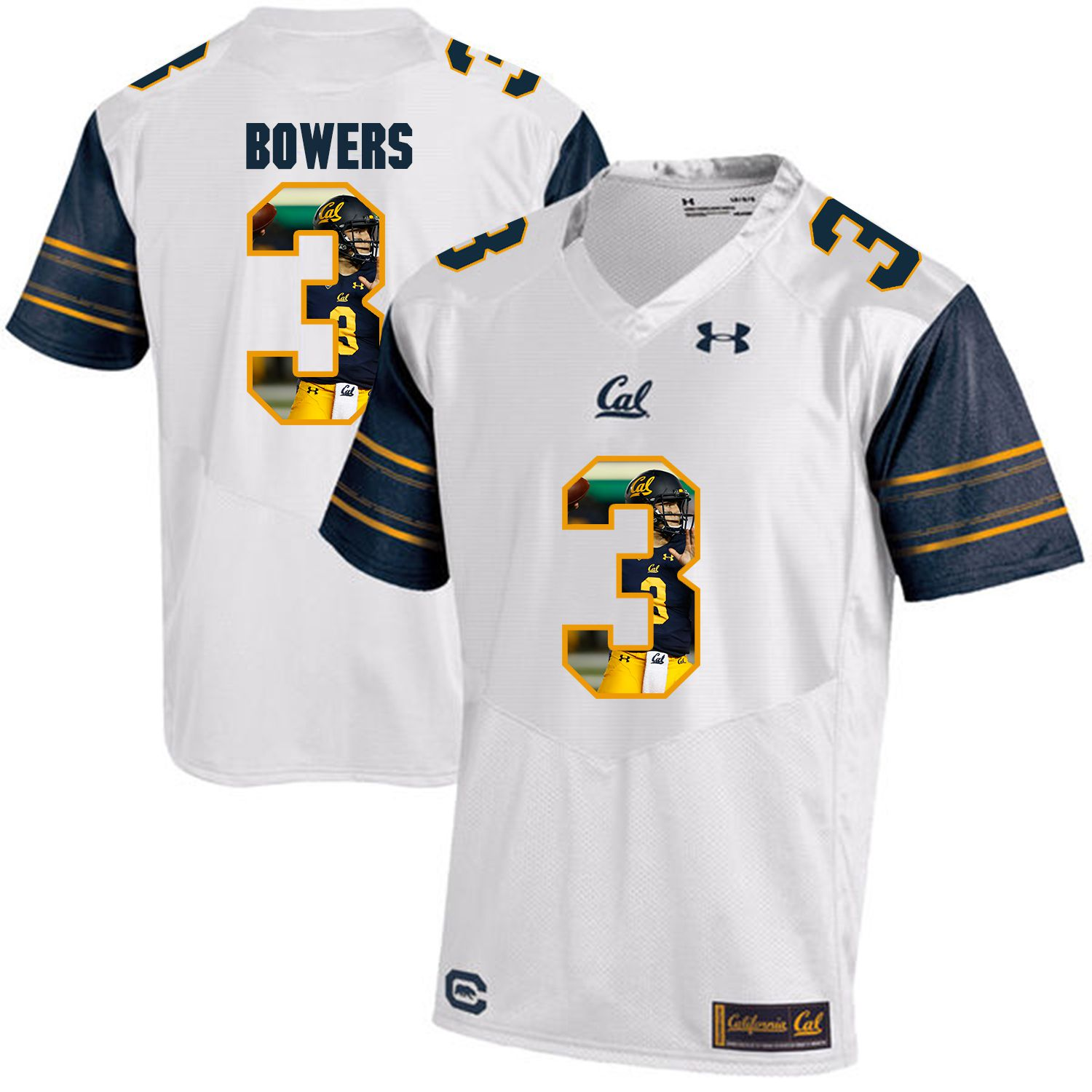 Men California Golden Bears 3 Ross Bowers White Customized NCAA Jerseys1