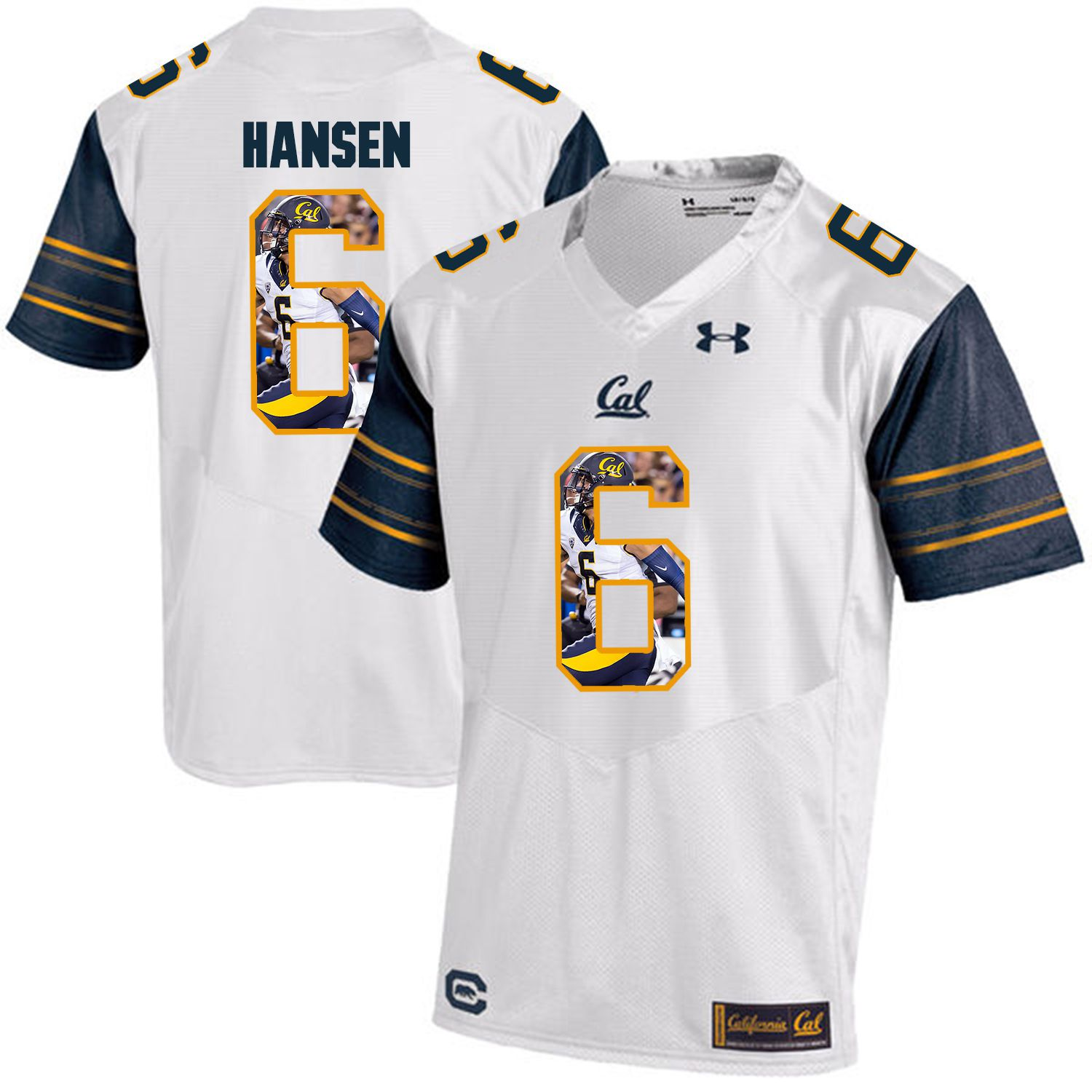 Men California Golden Bears 6 Chad Hansen White Customized NCAA Jerseys