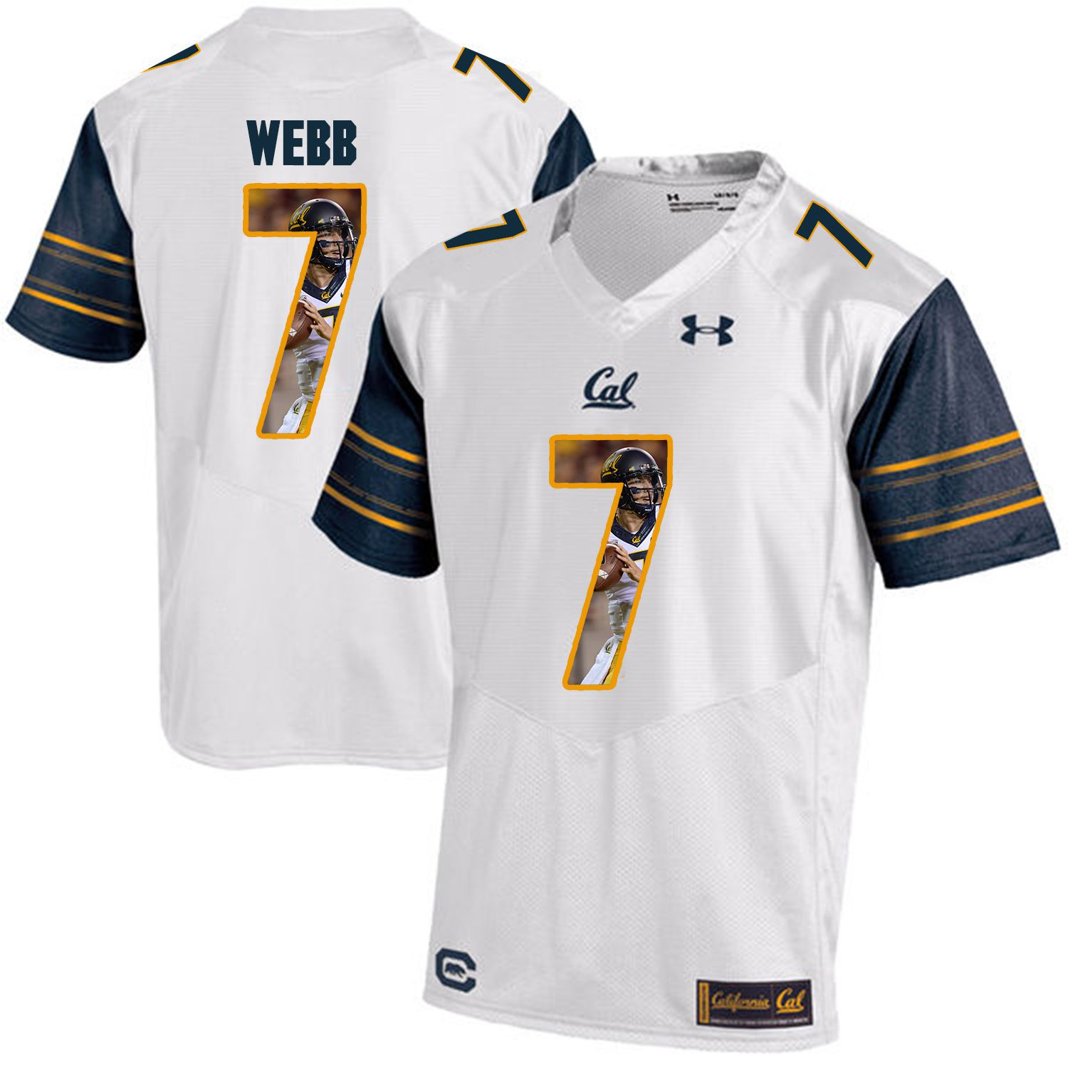 Men California Golden Bears 7 Davis Webb White Customized NCAA Jerseys1