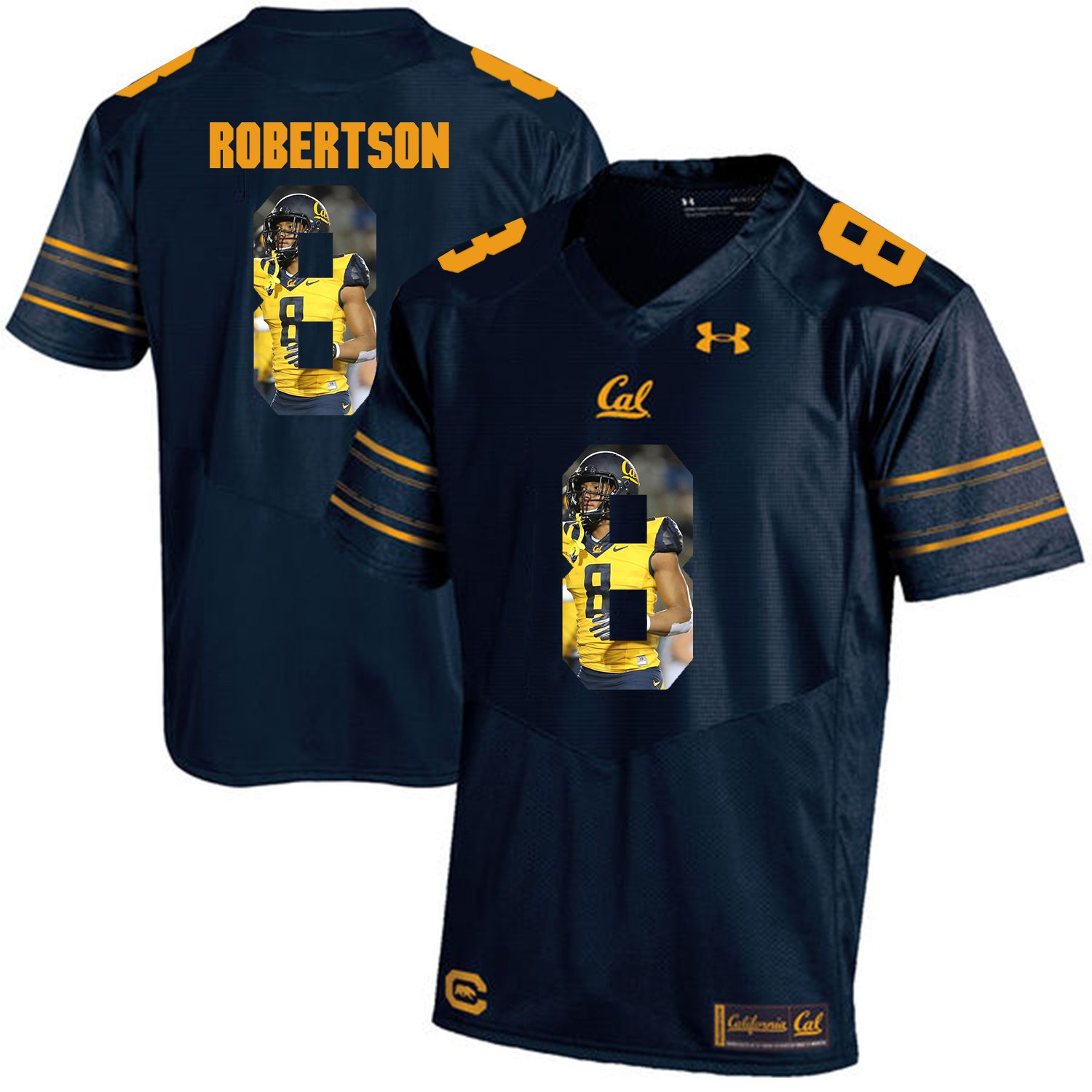 Men California Golden Bears 8 Demetris Robertson Dark blue Customized NCAA Jerseys1