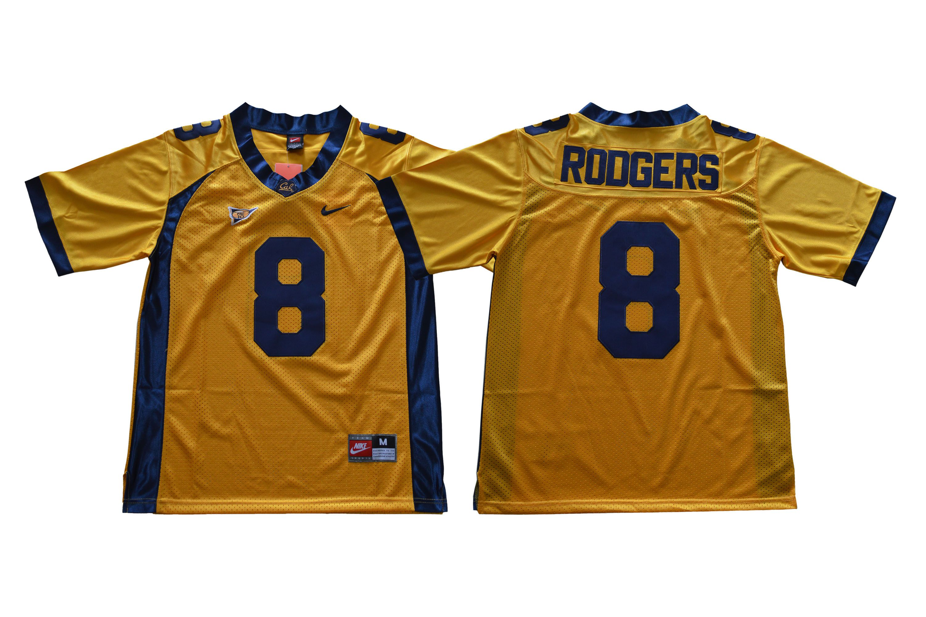 Men California Golden Bears 8 Rodgers Yellow Nike NCAA Jerseys
