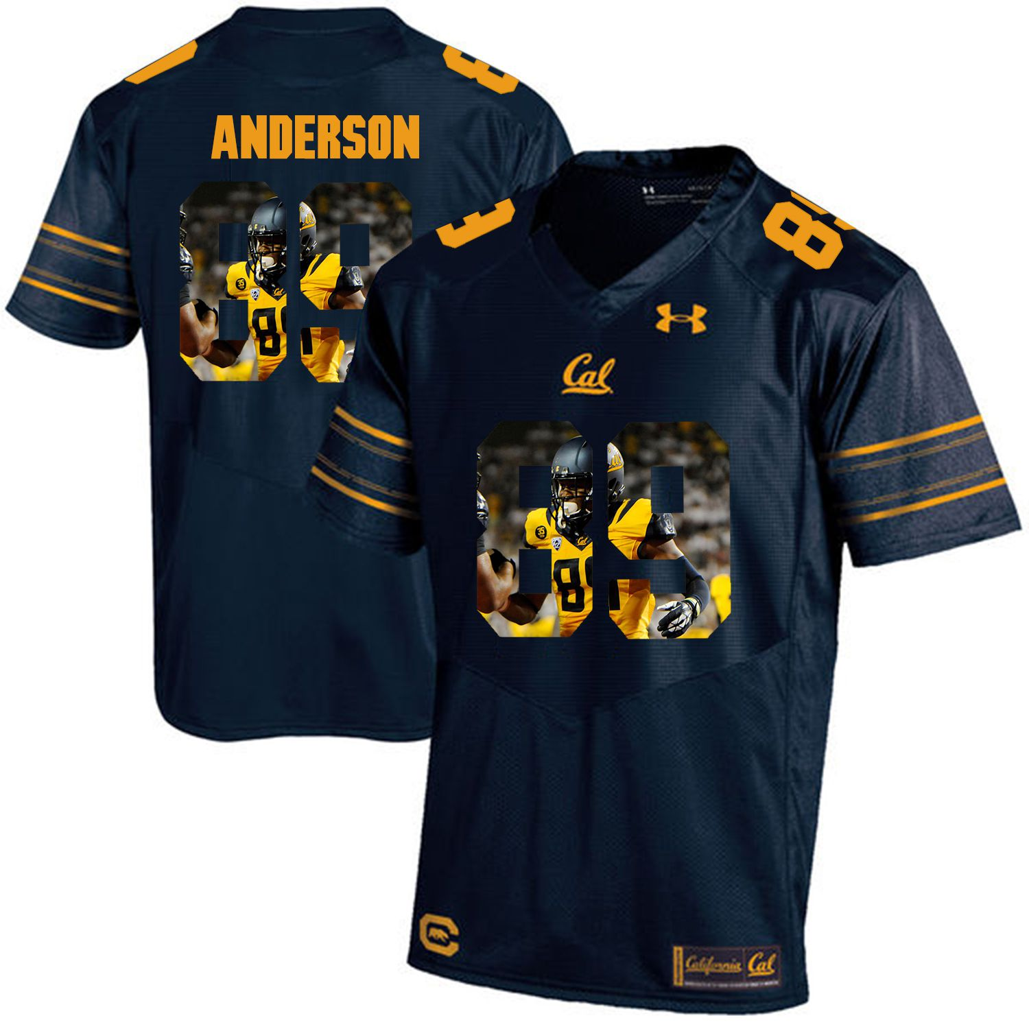 Men California Golden Bears 89 Stephen Anderson Dark blue Customized NCAA Jerseys