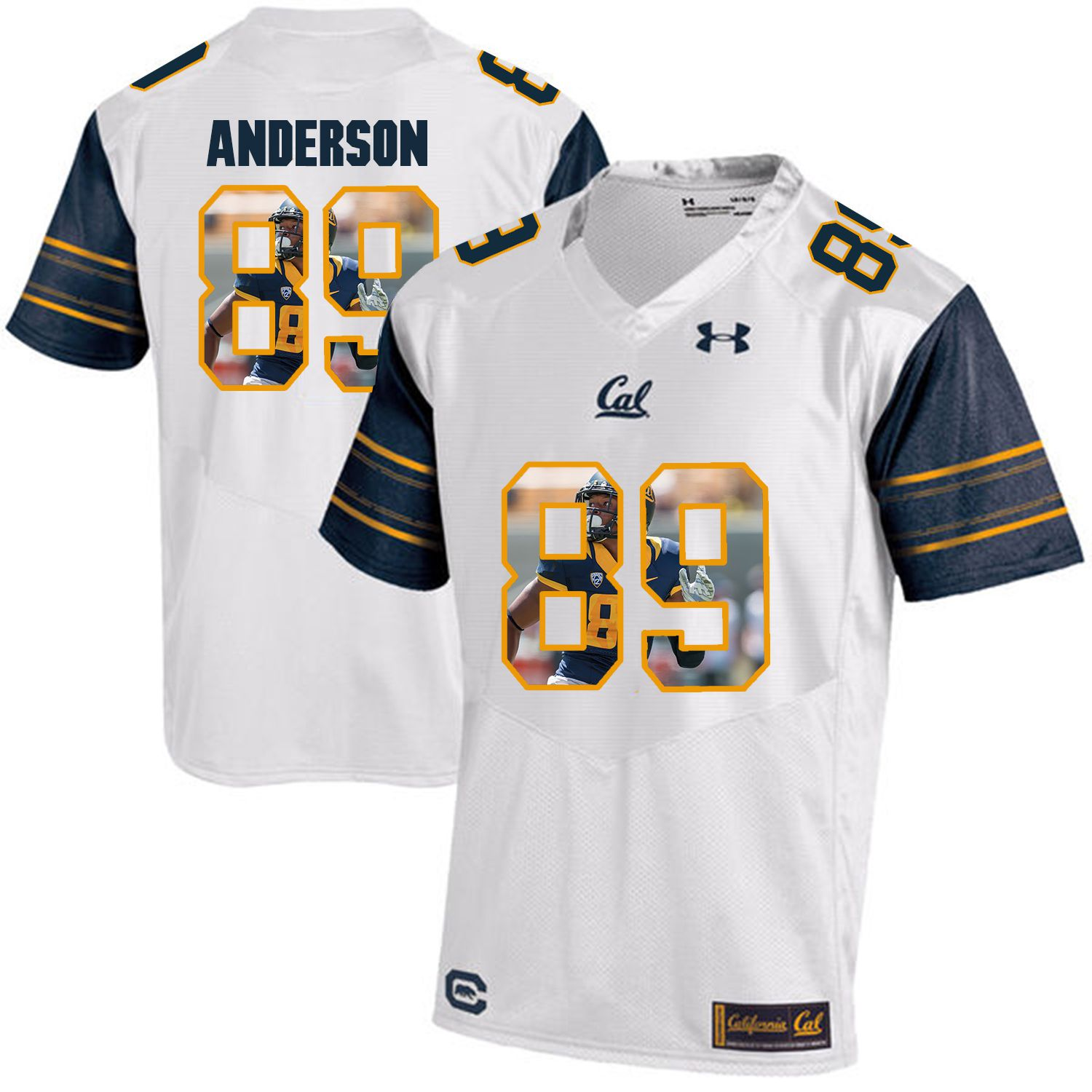 Men California Golden Bears 89 Stephen Anderson White Customized NCAA Jerseys