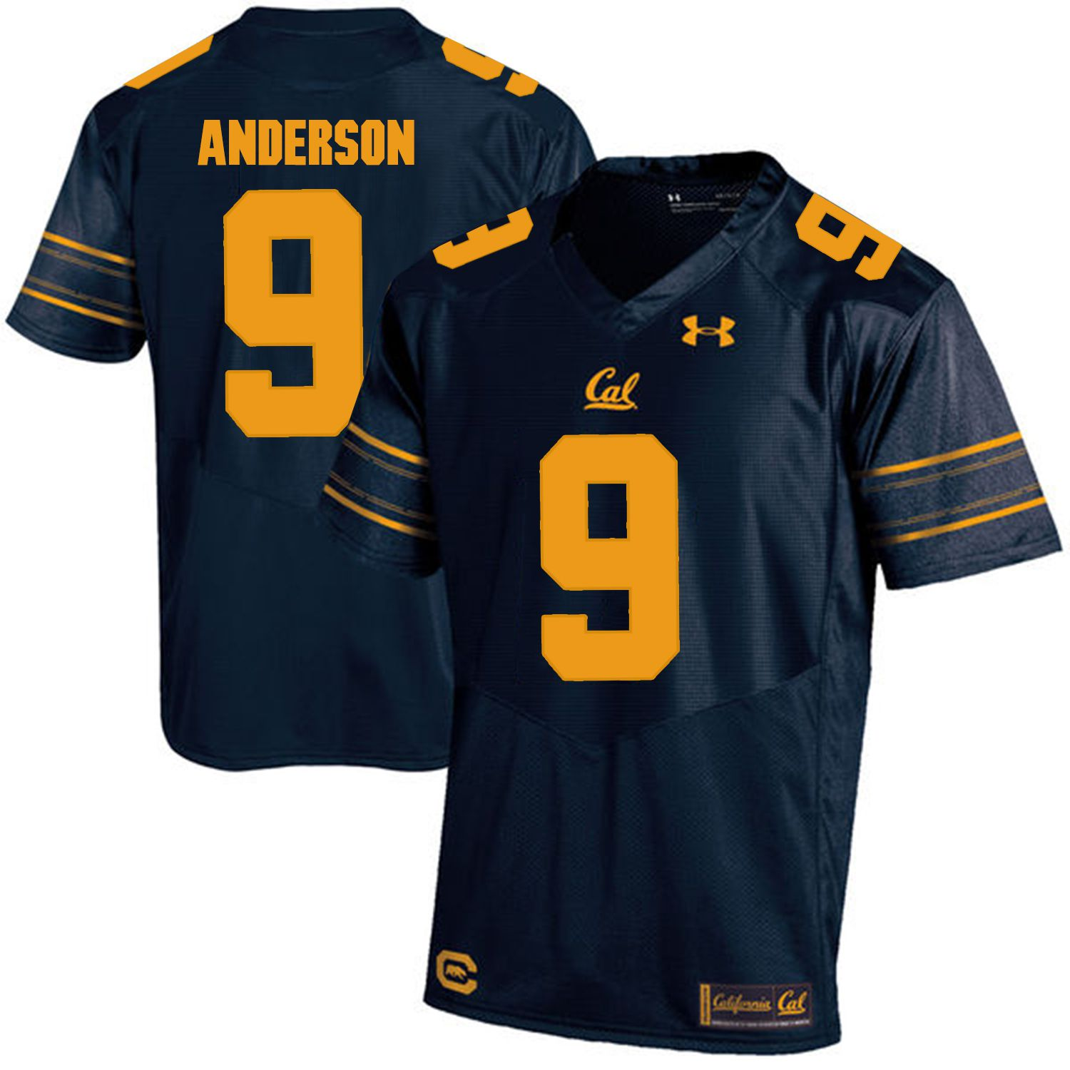 Men California Golden Bears 9 C.J. Anderson Dark blue Customized NCAA Jerseys
