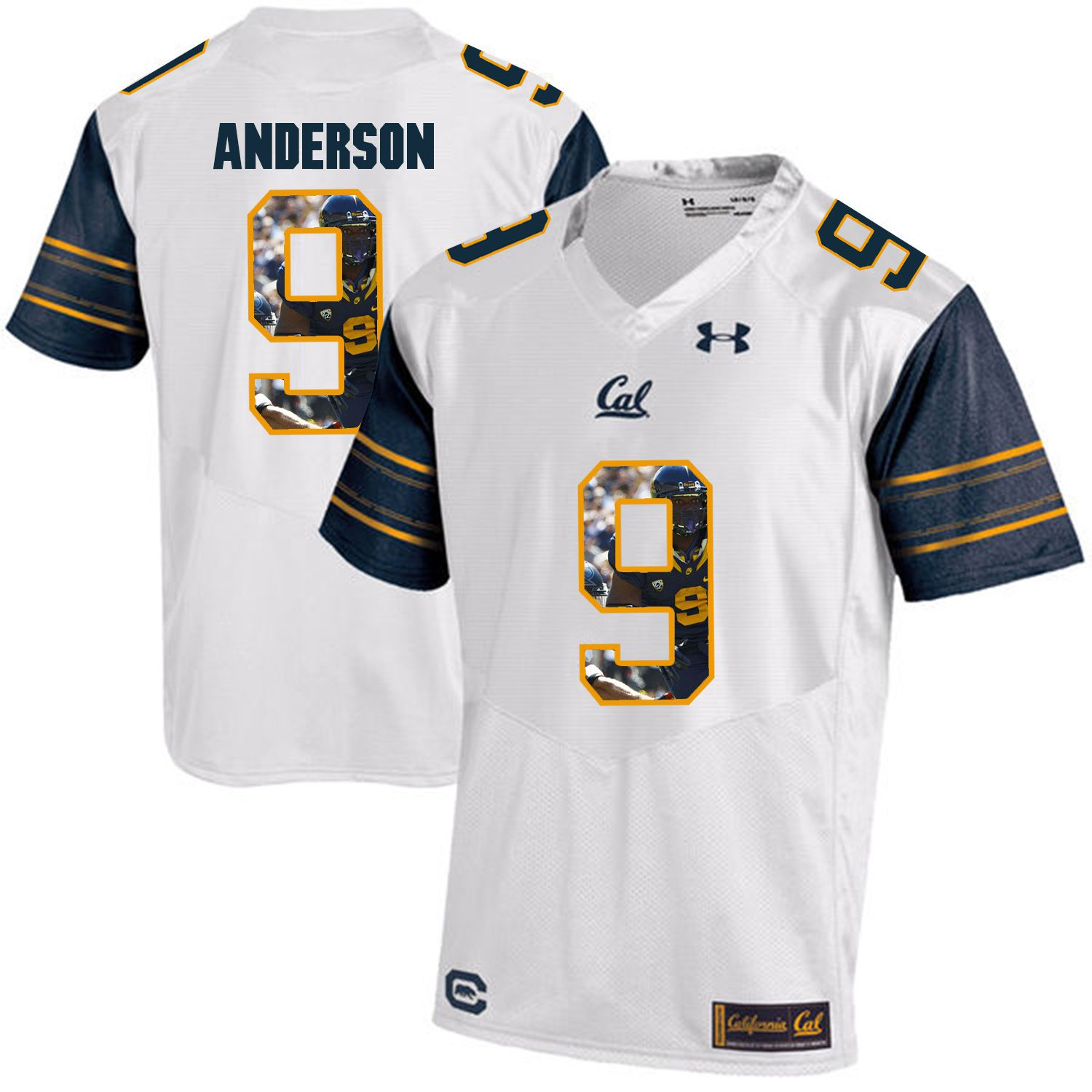 Men California Golden Bears 9 C.J. Anderson White Customized NCAA Jerseys