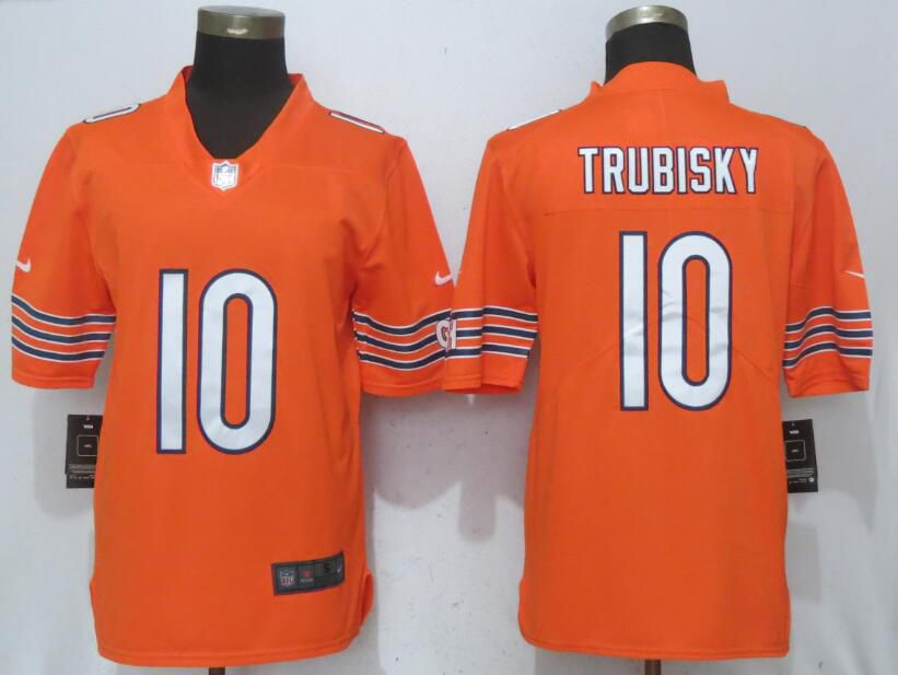 Men Chicago Bears 10 Trubisky Orange Vapor Untouchable Nike Limited Player NFL Jerseys