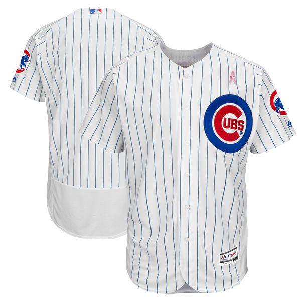 Men Chicago Cubs Blank White Mothers Edition MLB Jerseys