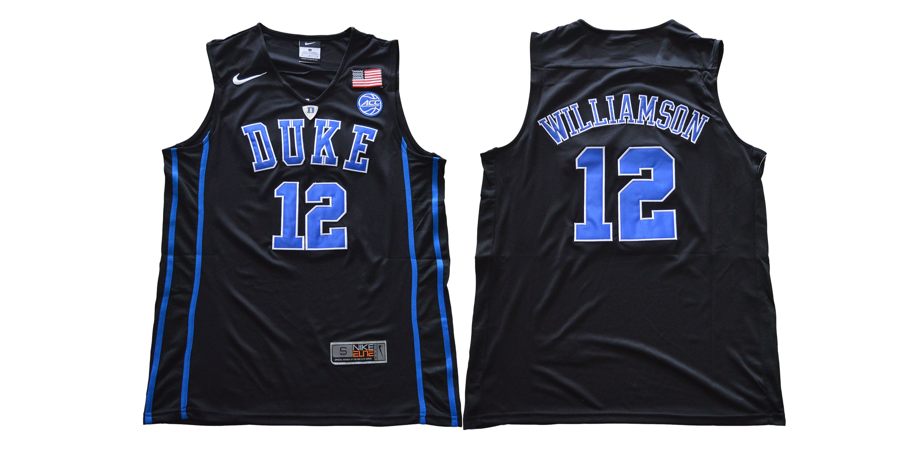 Men Duke Blue Devils 12 Williamson Black Nike NCAA Jerseys
