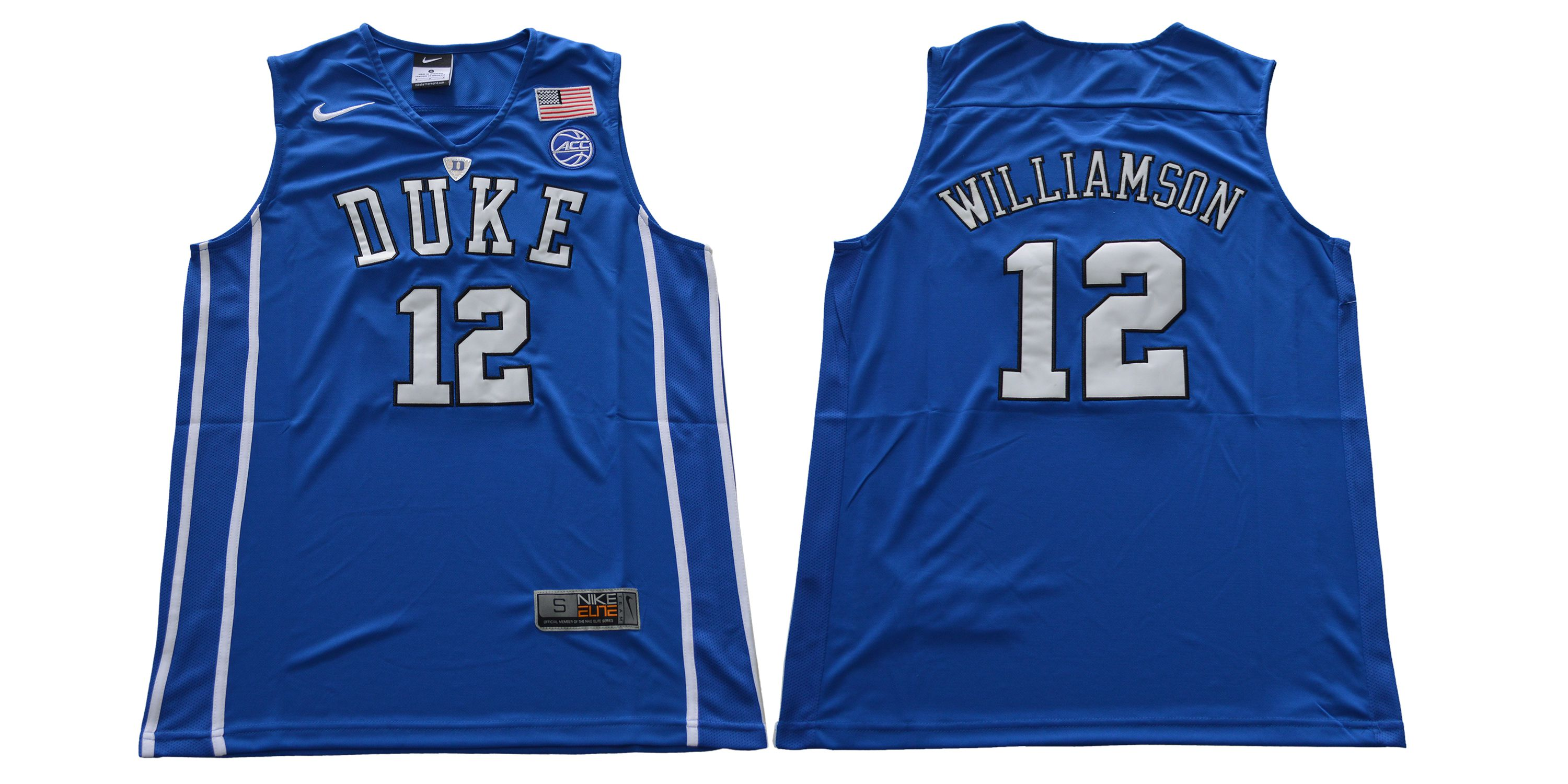 Men Duke Blue Devils 12 Williamson Blue Nike NCAA Jerseys