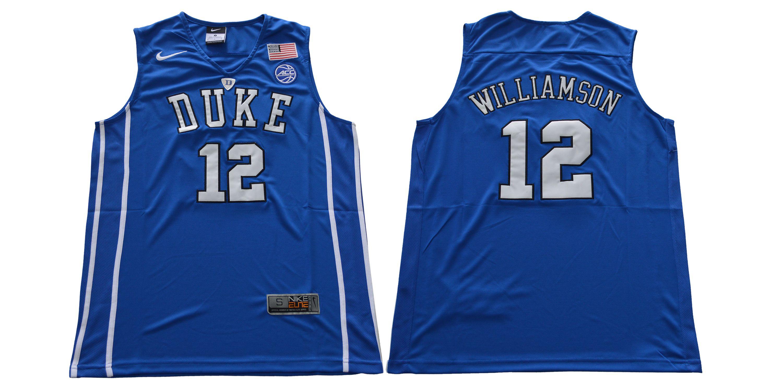 300c27f0fb48 Men Duke Blue Devils 12 Williamson Blue Nike NCAA Jerseys