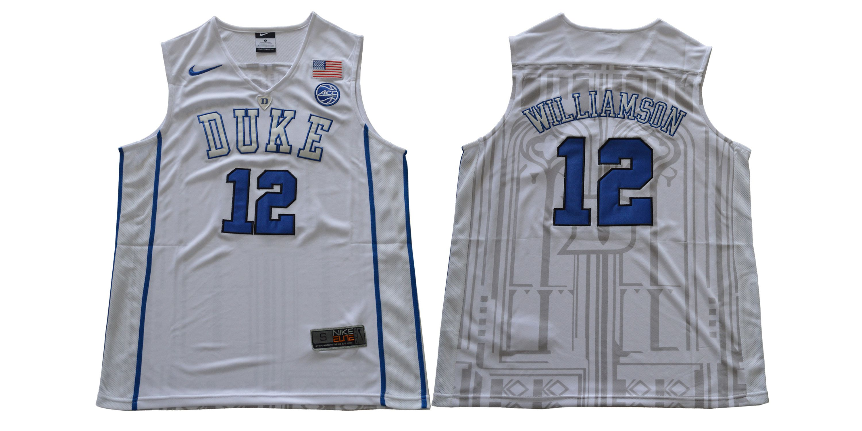 Men Duke Blue Devils 12 Williamson White Nike NCAA Jerseys