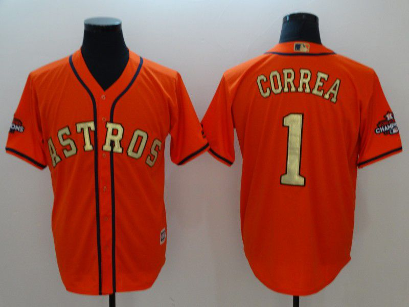 Men Houston Astros 1 Correa Orange Game Champion Edition MLB Jerseys
