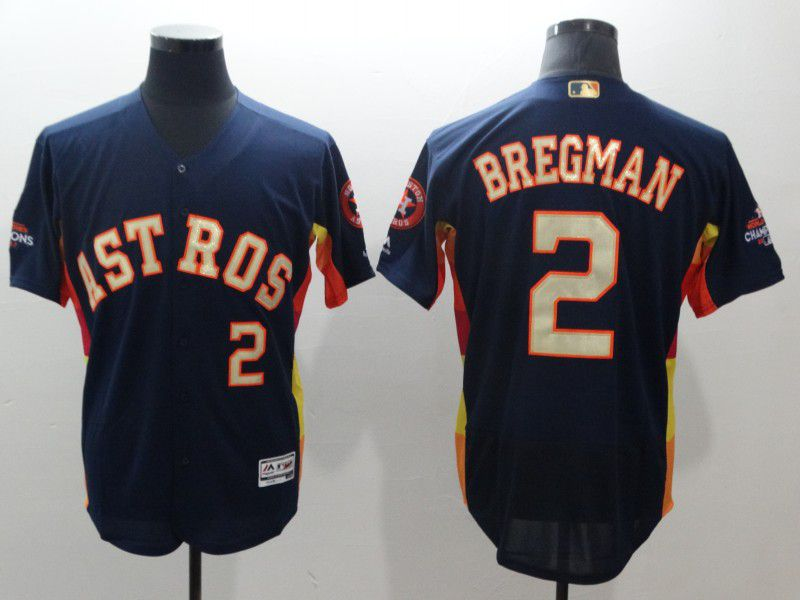 Men Houston Astros 2 Bregman Blue Elite Champion Edition MLB Jerseys