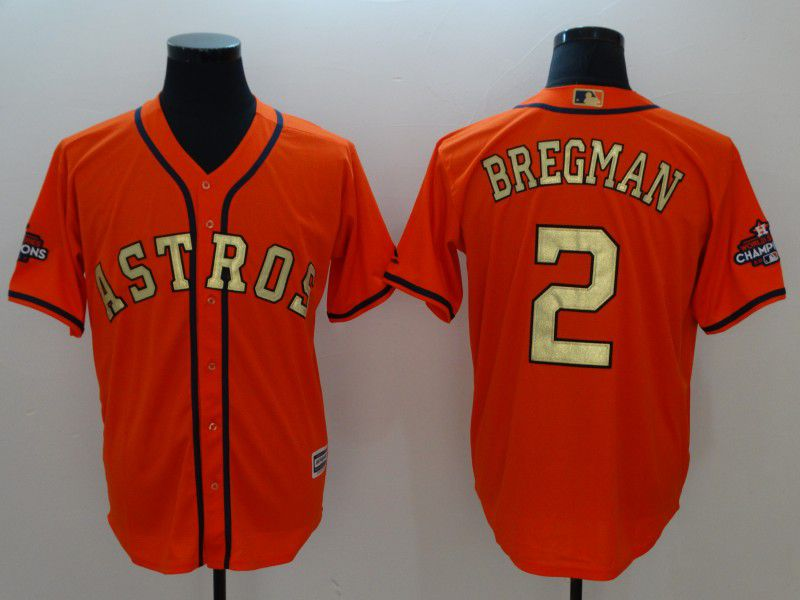 Men Houston Astros 2 Bregman Orange Game Champion Edition MLB Jerseys