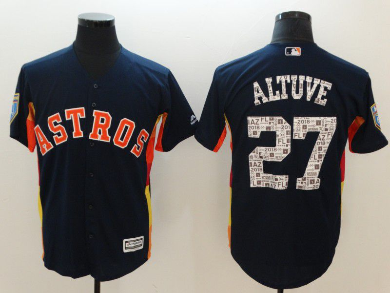 Men Houston Astros 27 Altuve Blue Game Spring Edition MLB Jerseys