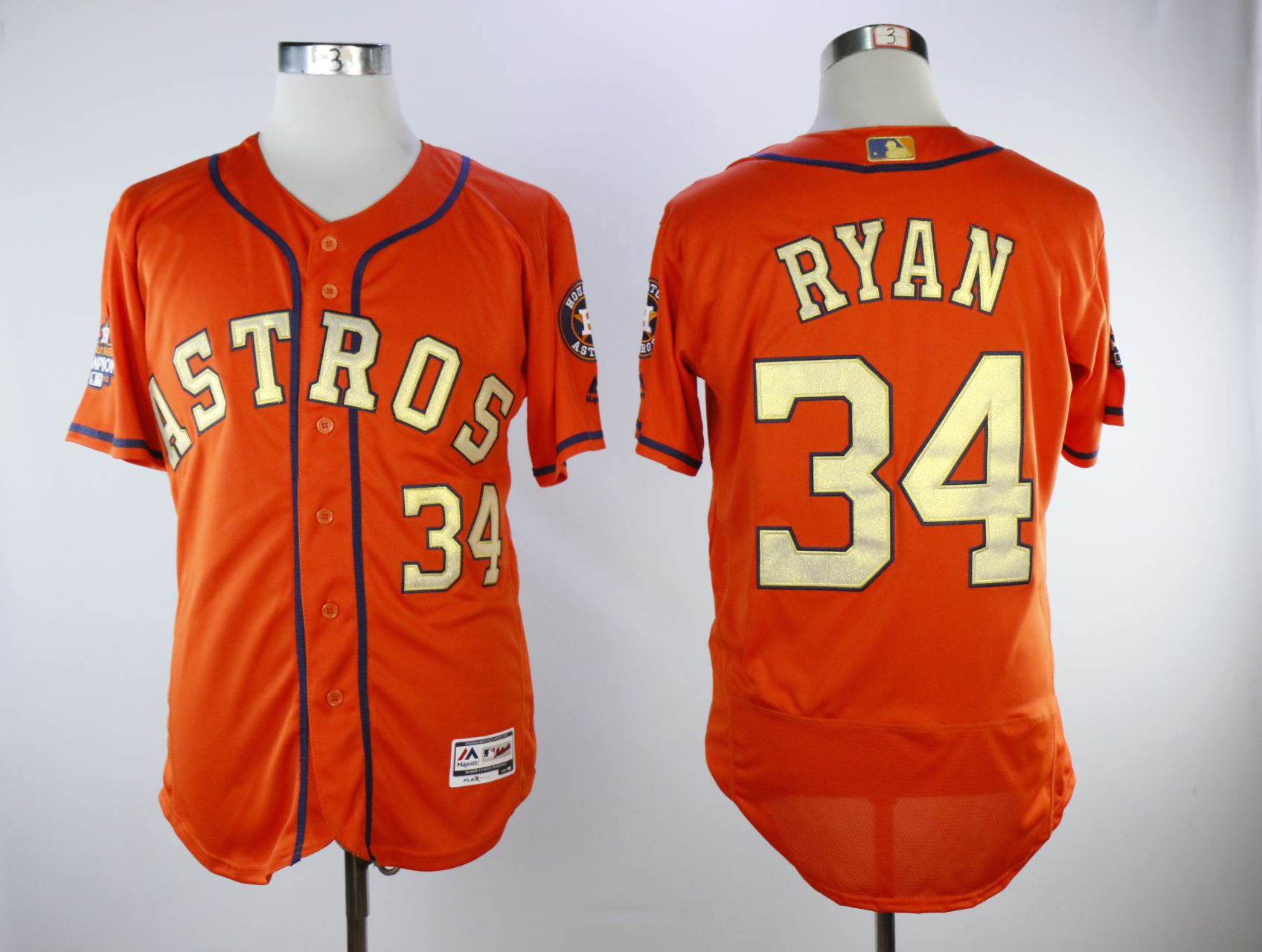 Men Houston Astros 34 Ryan Orange Elite Champion Edition MLB Jerseys