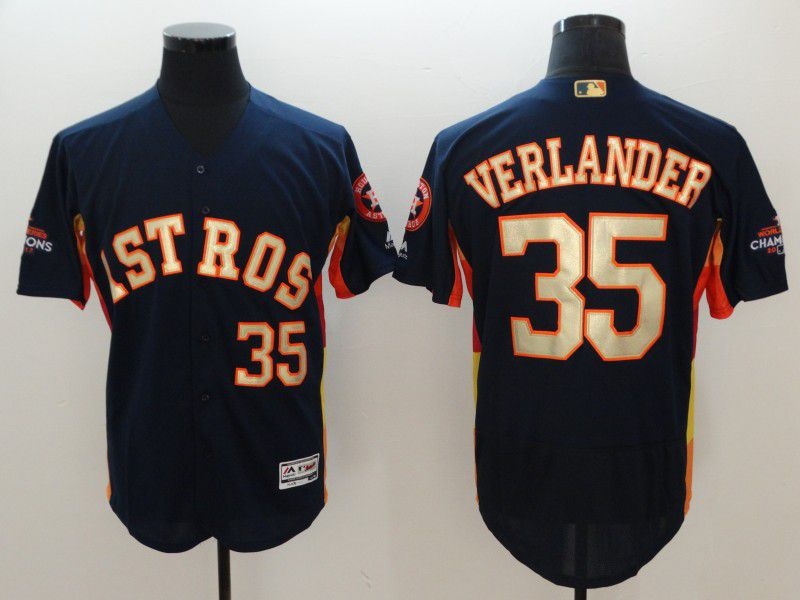 Men Houston Astros 35 Verlander Blue Elite Champion Edition MLB Jerseys