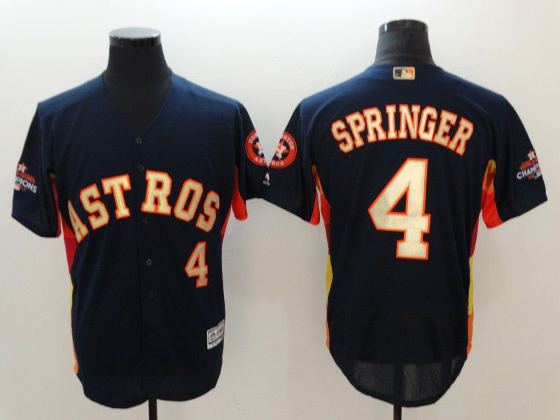 Men Houston Astros 4 Springer Blue Elite Champion Edition MLB Jerseys