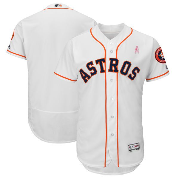 Men Houston Astros Blank White Mothers Edition MLB Jerseys