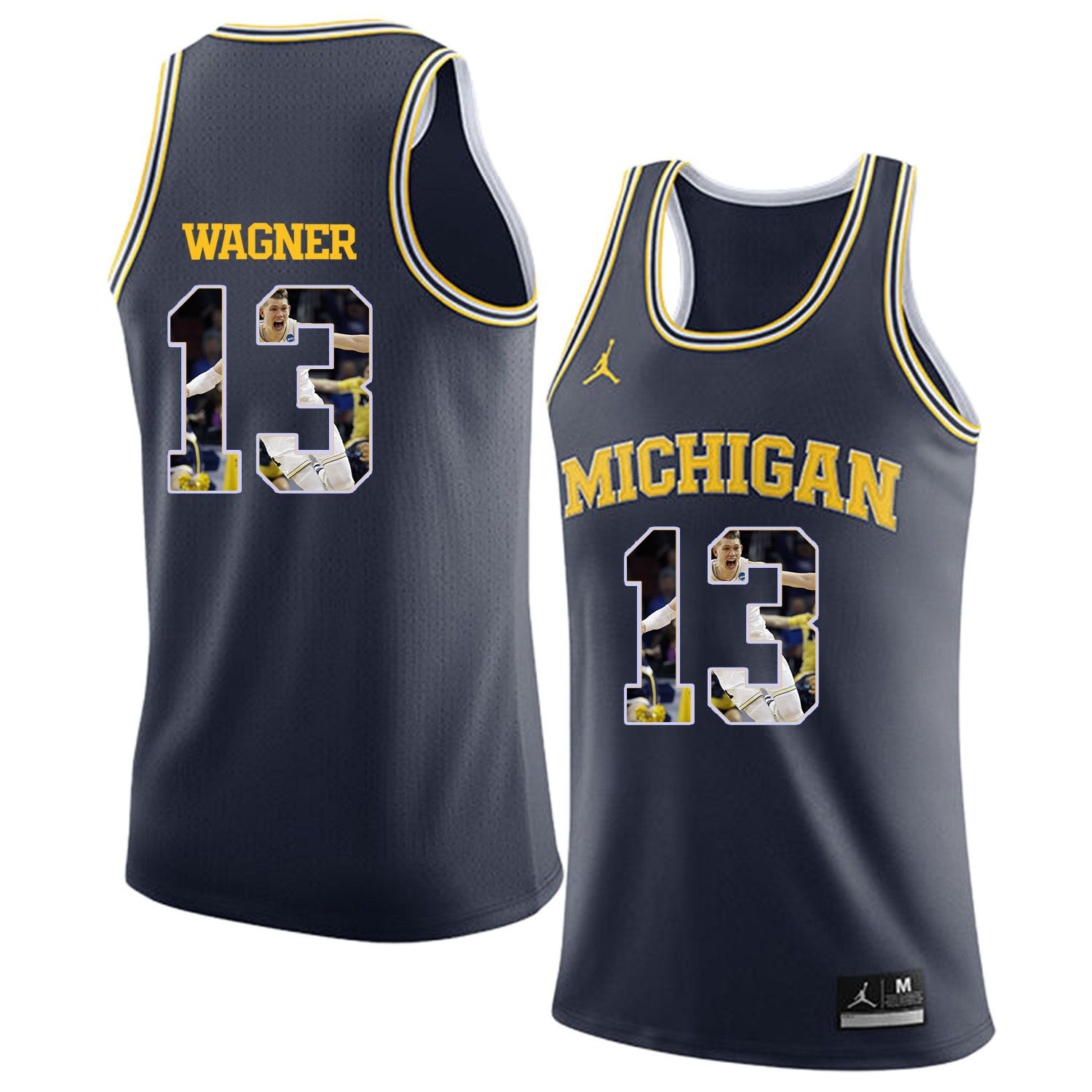 Men Jordan University of Michigan Basketball Navy 13 Wagner Fashion Edition Customized NCAA Jerseys