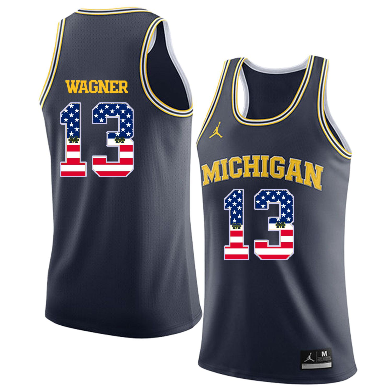 Men Jordan University of Michigan Basketball Navy 13 Wagner Flag Customized NCAA Jerseys