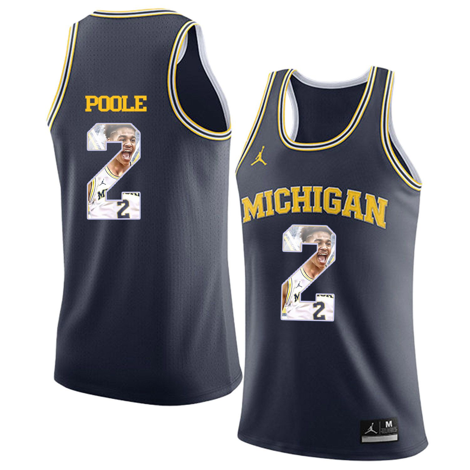 Men Jordan University of Michigan Basketball Navy 2 Poole Fashion Edition Customized NCAA Jerseys