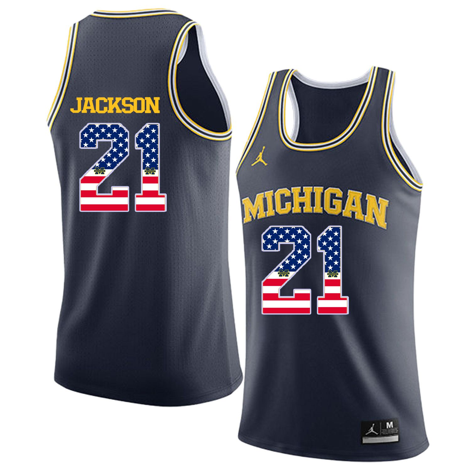 Men Jordan University of Michigan Basketball Navy 21 Jackson Flag Customized NCAA Jerseys