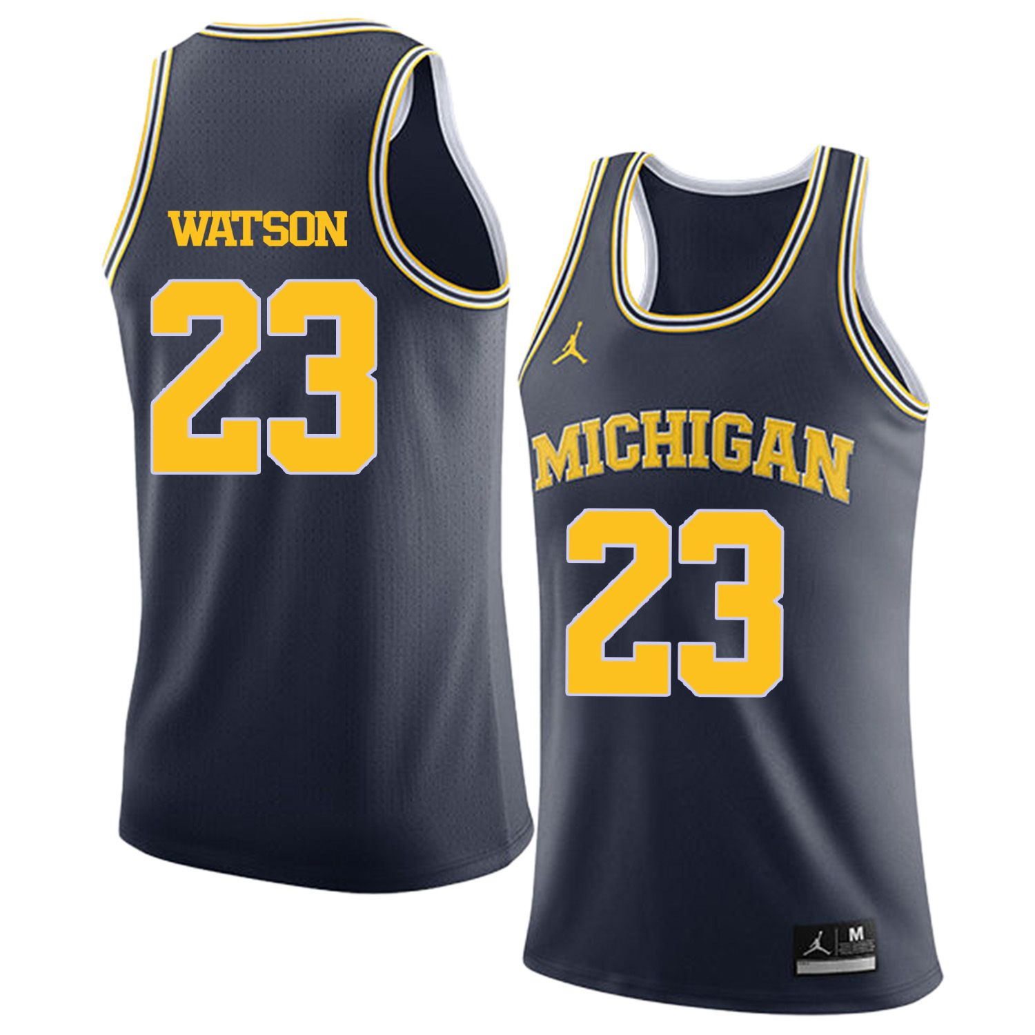 Men Jordan University of Michigan Basketball Navy 23 Watson Customized NCAA Jerseys