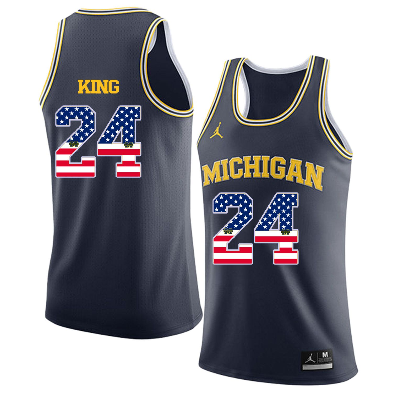 Men Jordan University of Michigan Basketball Navy 24 King Flag Customized NCAA Jerseys