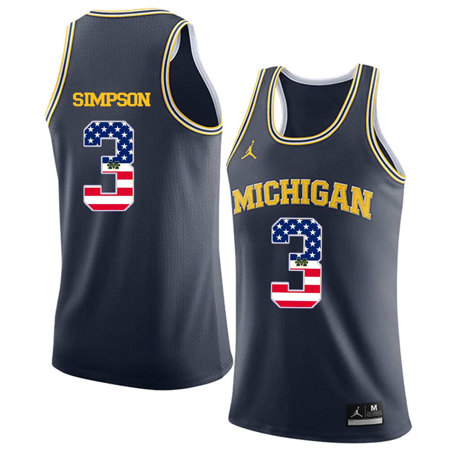 Men Jordan University of Michigan Basketball Navy 3 Simpson Flag Customized NCAA Jerseys
