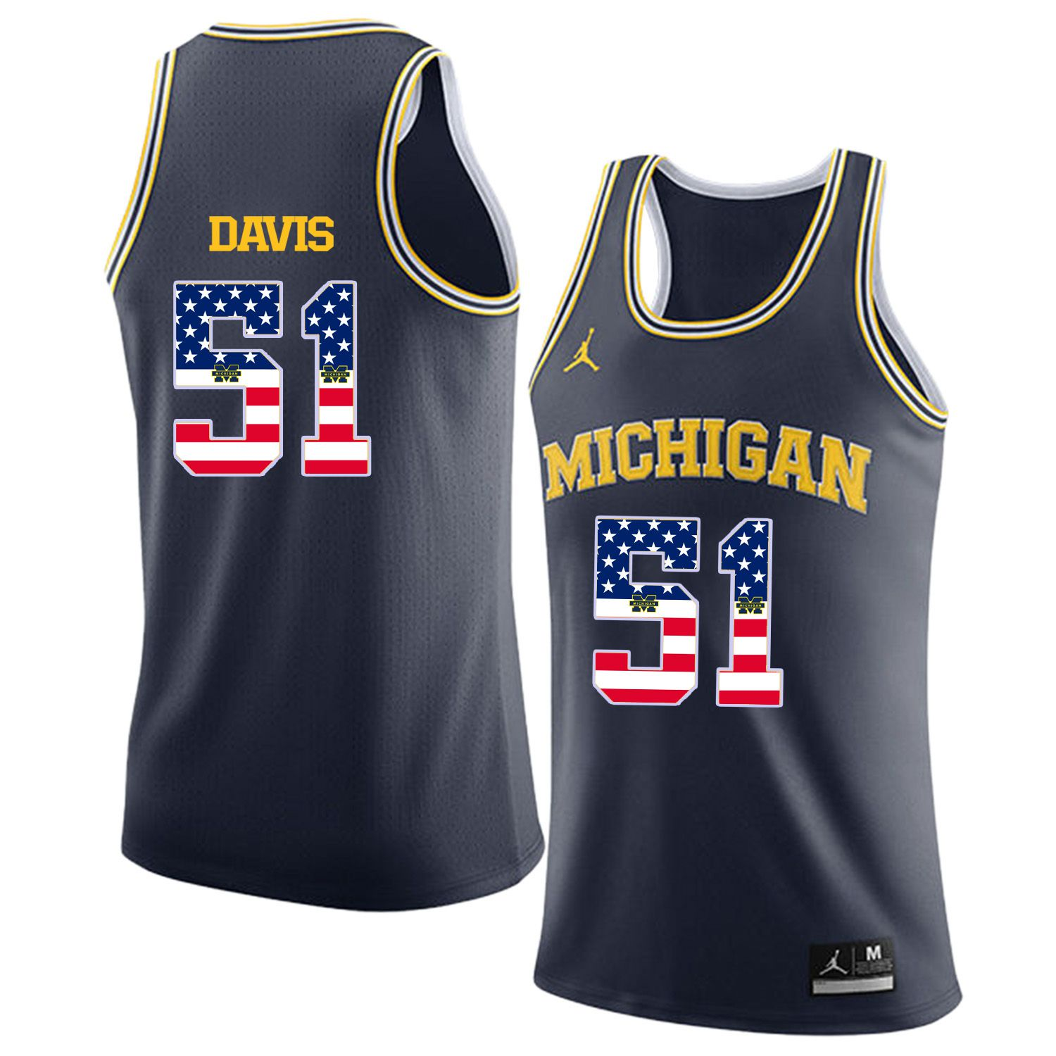 Men Jordan University of Michigan Basketball Navy 51 Davis Flag Customized NCAA Jerseys