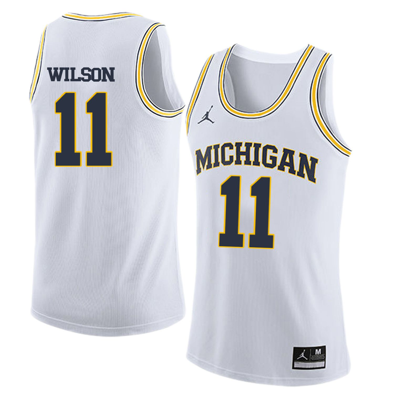 Men Jordan University of Michigan Basketball White 11 Wilson Customized NCAA Jerseys