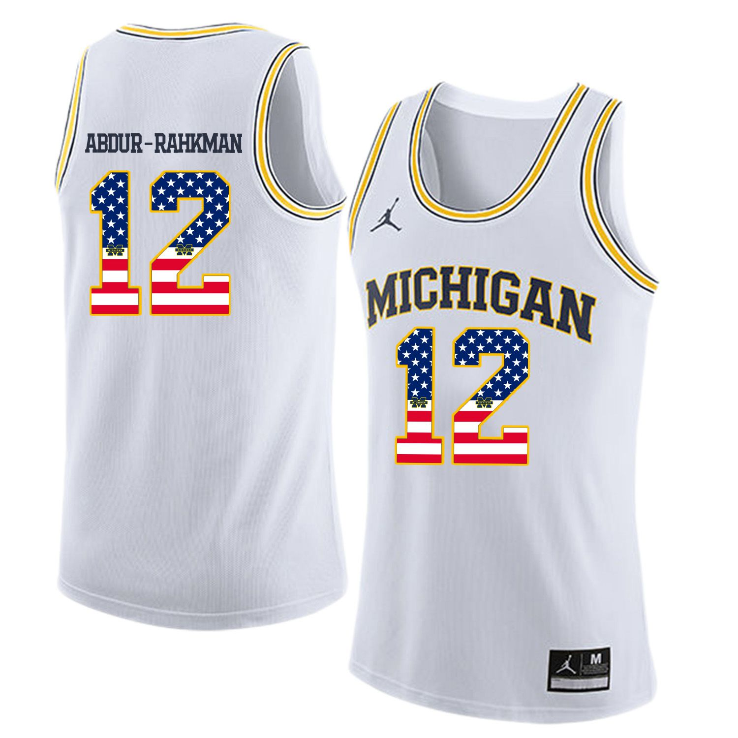 Men Jordan University of Michigan Basketball White 12 Abdur-Rahkman Flag Customized NCAA Jerseys