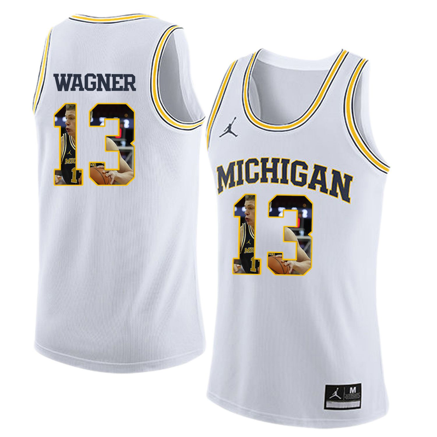 Men Jordan University of Michigan Basketball White 13 Wagner Fashion Edition Customized NCAA Jerseys