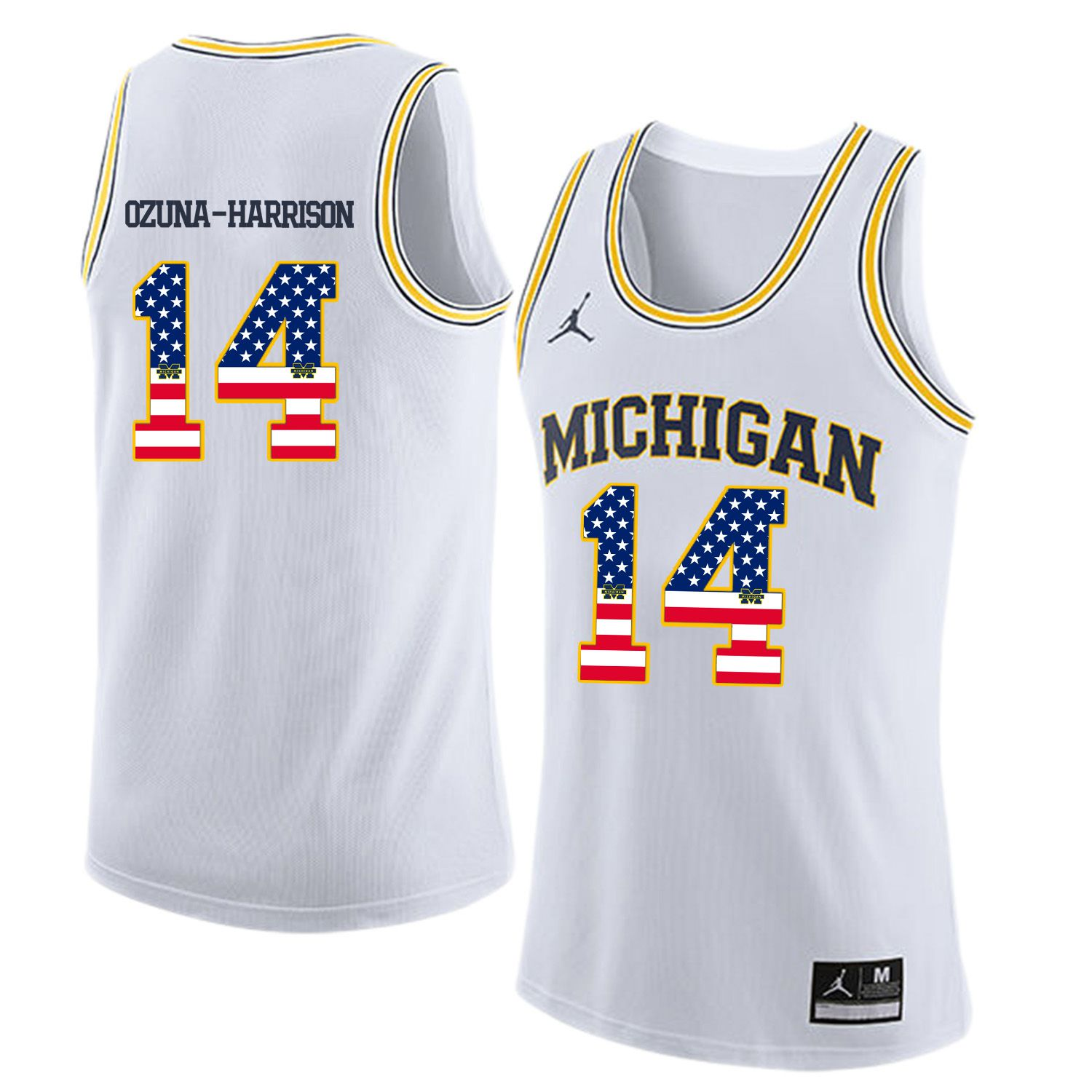 Men Jordan University of Michigan Basketball White 14 Ozuna-Harrison Flag Customized NCAA Jerseys