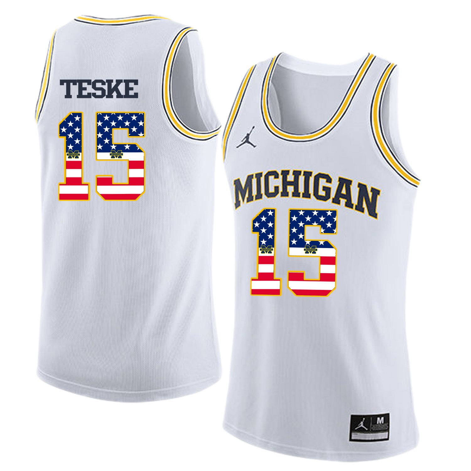 Men Jordan University of Michigan Basketball White 15 Teske Flag Customized NCAA Jerseys