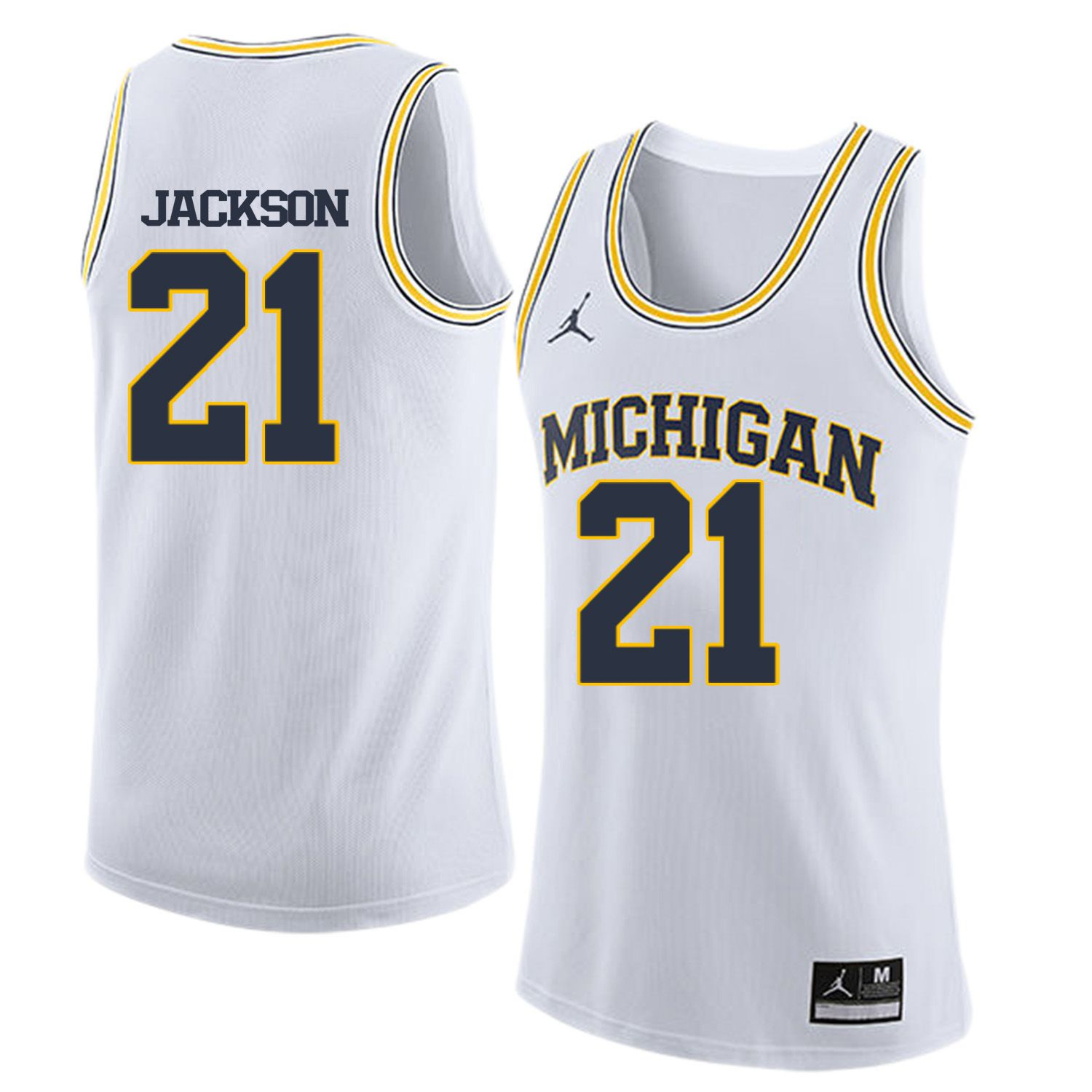 Men Jordan University of Michigan Basketball White 21 Jackson Customized NCAA Jerseys